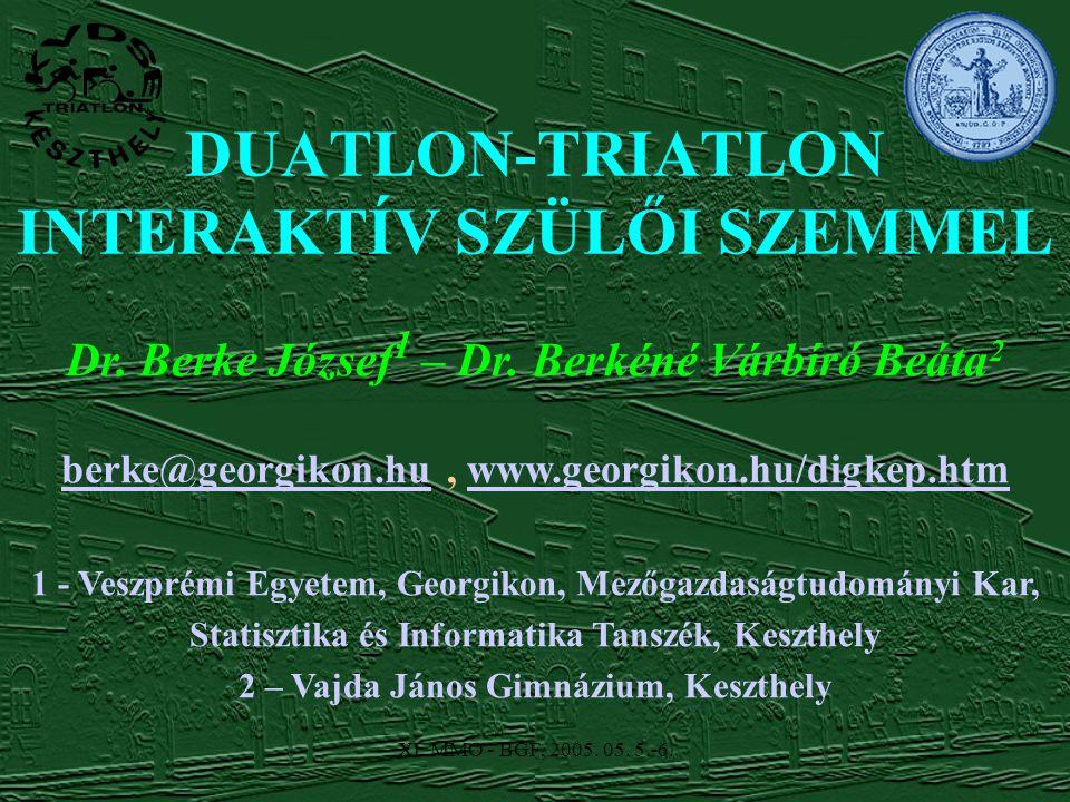 XI. MMO - BGF, 2005. 05. 5.-6. Dr. Berke József 1 – Dr.