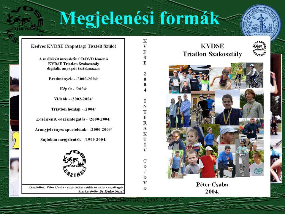 XI. MMO - BGF, 2005. 05. 5.-6. Megjelenési formák