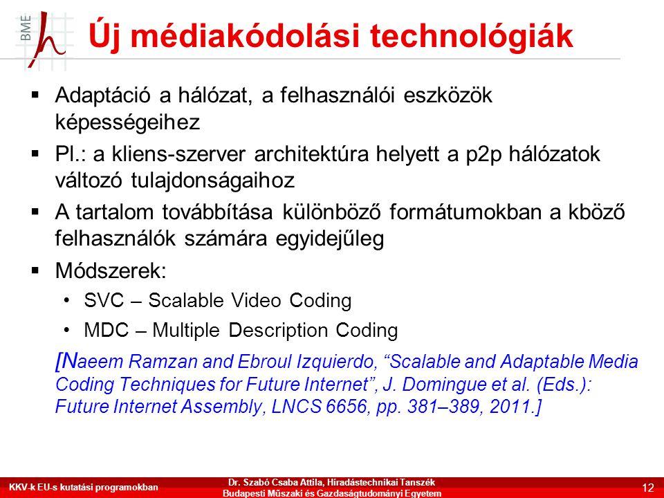Új médiakódolási technológiák  Adaptáció a hálózat, a felhasználói eszközök képességeihez  Pl.: a kliens-szerver architektúra helyett a p2p hálózato