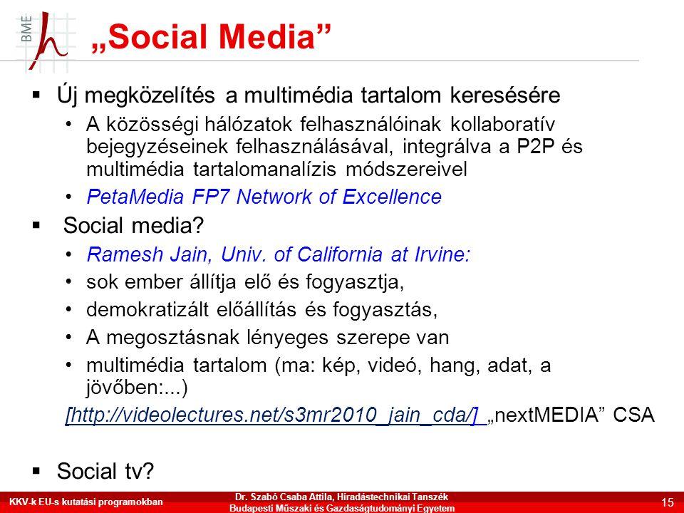 """""""Social Media""""  Új megközelítés a multimédia tartalom keresésére •A közösségi hálózatok felhasználóinak kollaboratív bejegyzéseinek felhasználásával,"""