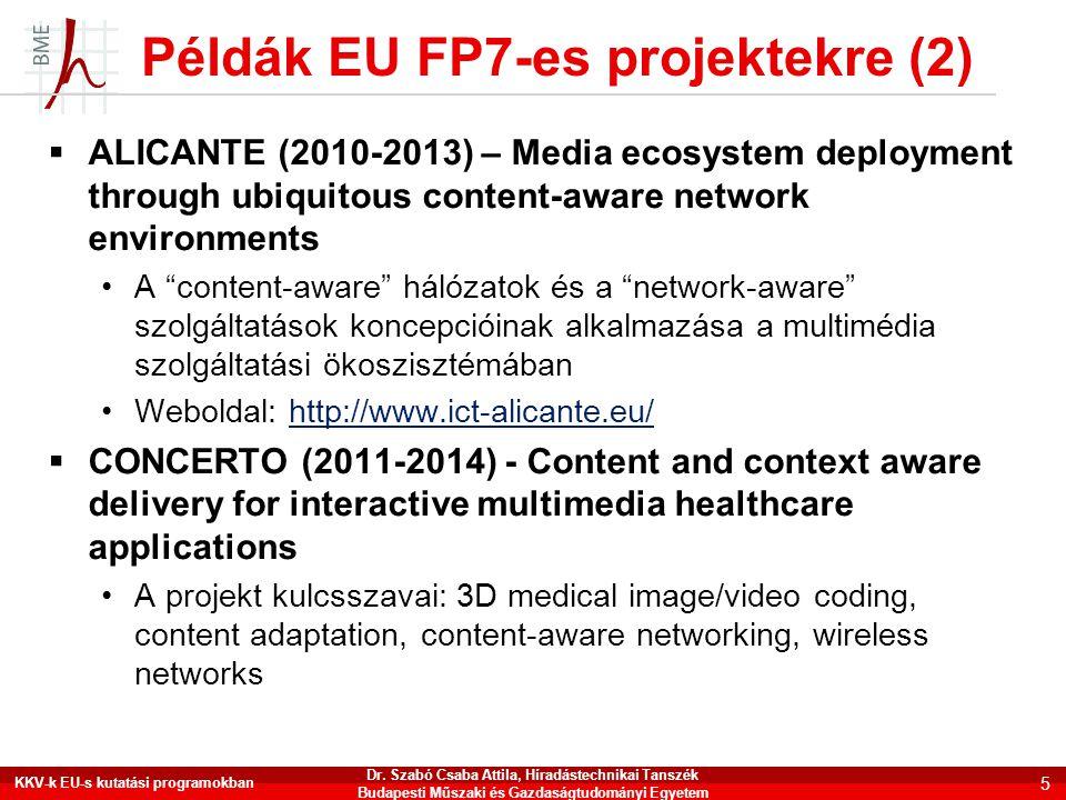 """Példák EU FP7-es projektekre (2)  ALICANTE (2010-2013) – Media ecosystem deployment through ubiquitous content-aware network environments •A """"content"""