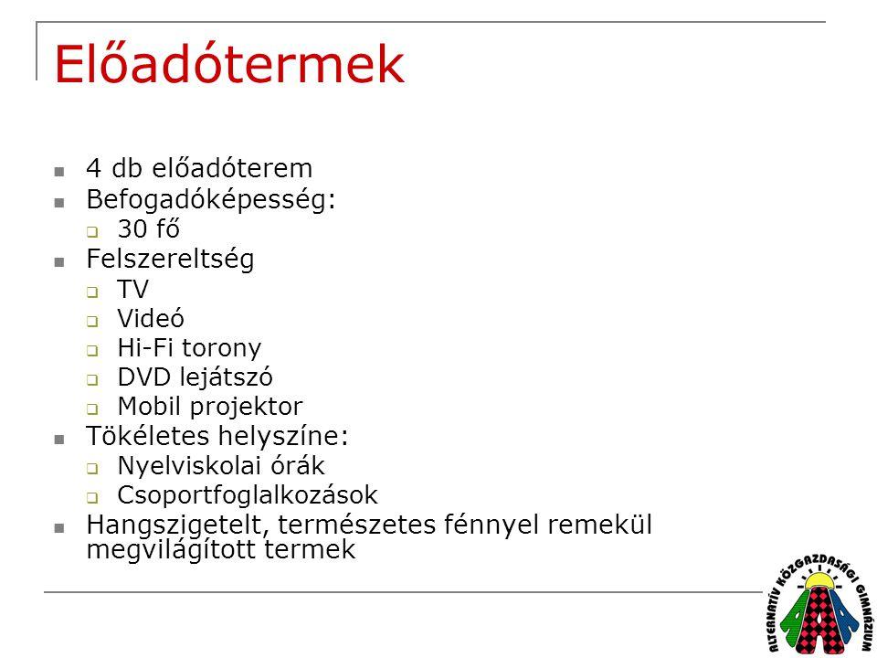 Előadótermek  4 db előadóterem  Befogadóképesség:  30 fő  Felszereltség  TV  Videó  Hi-Fi torony  DVD lejátszó  Mobil projektor  Tökéletes h