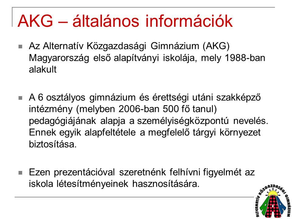 AKG – általános információk  Az Alternatív Közgazdasági Gimnázium (AKG) Magyarország első alapítványi iskolája, mely 1988-ban alakult  A 6 osztályos