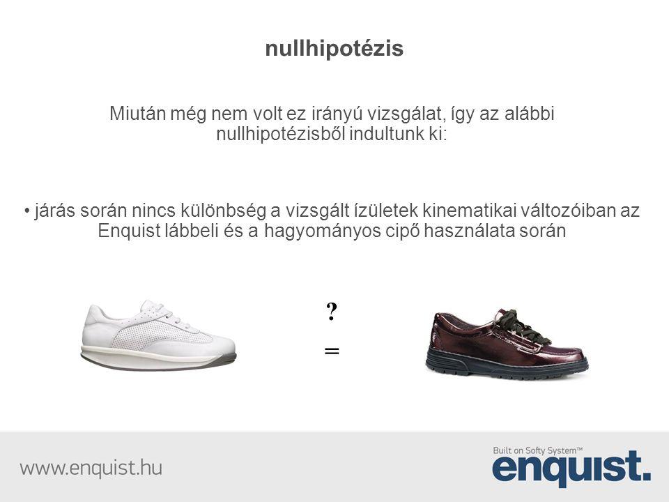 nullhipotézis Miután még nem volt ez irányú vizsgálat, így az alábbi nullhipotézisből indultunk ki: • járás során nincs különbség a vizsgált ízületek kinematikai változóiban az Enquist lábbeli és a hagyományos cipő használata során .