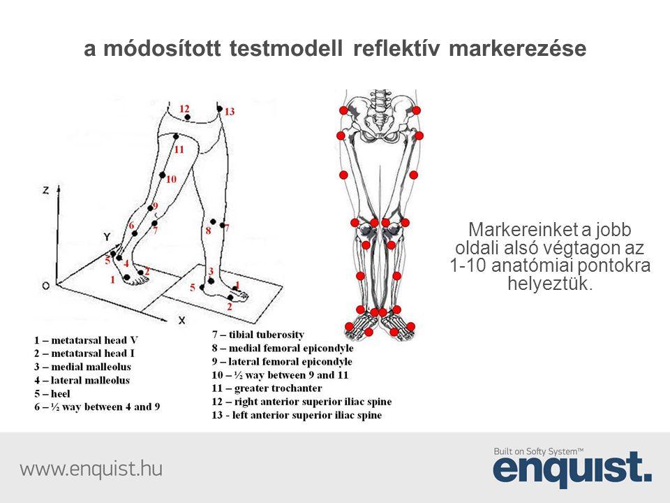 a módosított testmodell reflektív markerezése Markereinket a jobb oldali alsó végtagon az 1-10 anatómiai pontokra helyeztük.