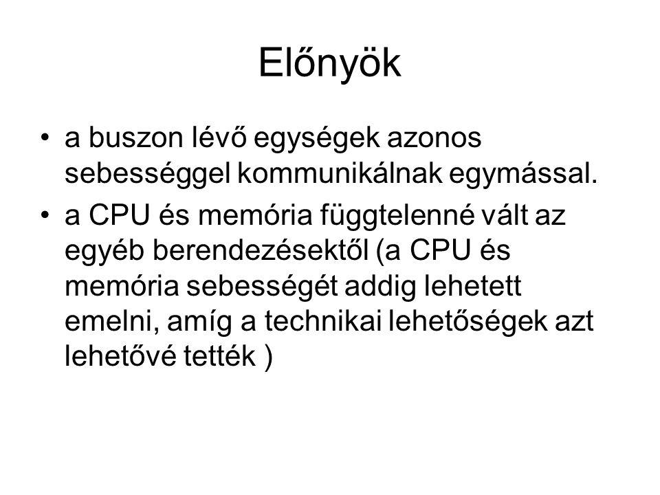 Előnyök •a buszon lévő egységek azonos sebességgel kommunikálnak egymással. •a CPU és memória függtelenné vált az egyéb berendezésektől (a CPU és memó