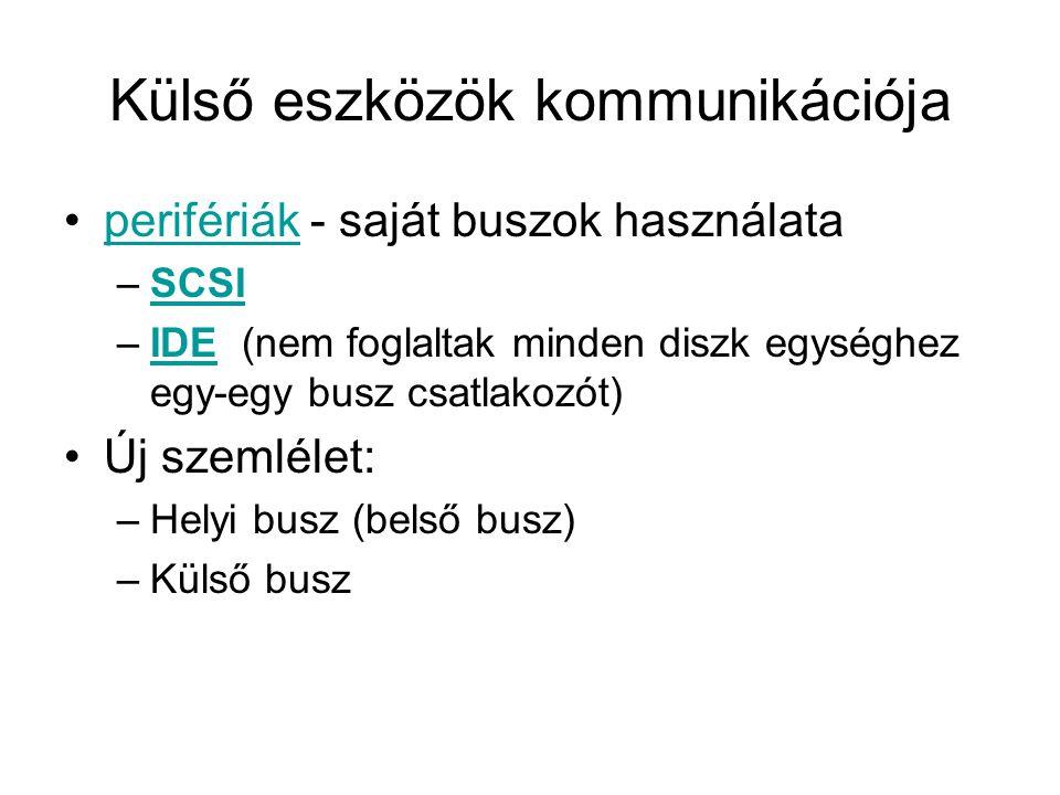 Külső eszközök kommunikációja •perifériák - saját buszok használataperifériák –SCSISCSI –IDE (nem foglaltak minden diszk egységhez egy-egy busz csatlakozót)IDE •Új szemlélet: –Helyi busz (belső busz) –Külső busz