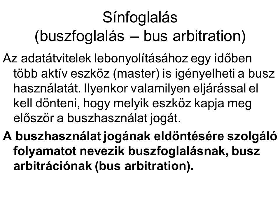 Sínfoglalás (buszfoglalás – bus arbitration) Az adatátvitelek lebonyolításához egy időben több aktív eszköz (master) is igényelheti a busz használatát