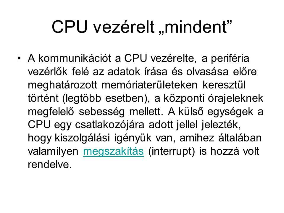 """CPU vezérelt """"mindent •A kommunikációt a CPU vezérelte, a periféria vezérlők felé az adatok írása és olvasása előre meghatározott memóriaterületeken keresztül történt (legtöbb esetben), a központi órajeleknek megfelelő sebesség mellett."""
