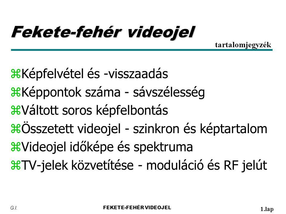 Fekete-fehér videojel zKépfelvétel és -visszaadás zKéppontok száma - sávszélesség zVáltott soros képfelbontás zÖsszetett videojel - szinkron és képtartalom zVideojel időképe és spektruma zTV-jelek közvetítése - moduláció és RF jelút tartalomjegyzék FEKETE-FEHÉR VIDEOJEL 1.lap G.I.
