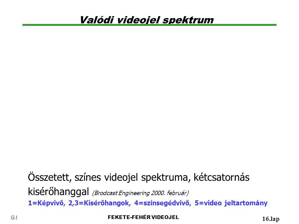 Valódi videojel spektrum FEKETE-FEHÉR VIDEOJEL 16.lap G.I. Összetett, színes videojel spektruma, kétcsatornás kisérőhanggal (Brodcast Engineering 2000
