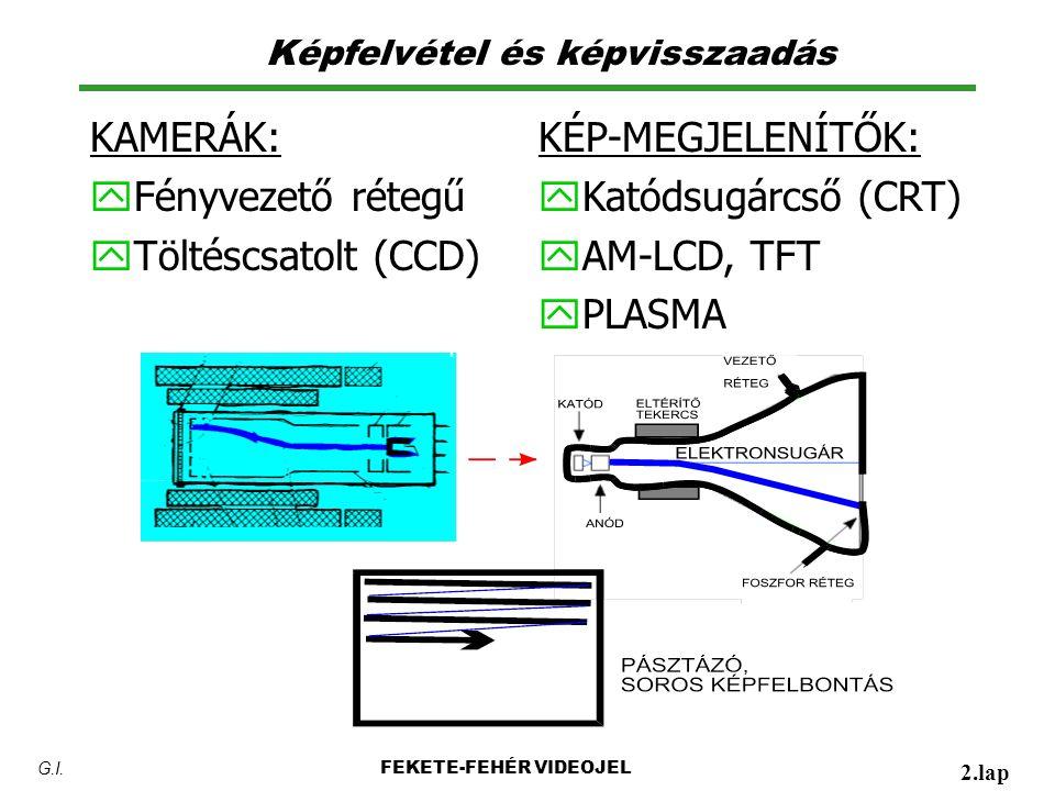 Képfelvétel és képvisszaadás KAMERÁK: y Fényvezető rétegű y Töltéscsatolt (CCD) FEKETE-FEHÉR VIDEOJEL 2.lap G.I.