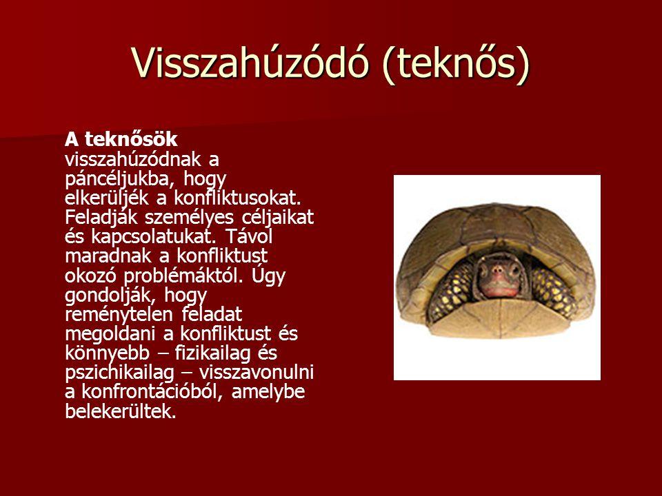 Visszahúzódó (teknős) A teknősök visszahúzódnak a páncéljukba, hogy elkerüljék a konfliktusokat. Feladják személyes céljaikat és kapcsolatukat. Távol