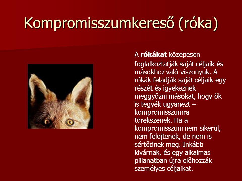 Kompromisszumkereső (róka) A rókákat közepesen foglalkoztatják saját céljaik és másokhoz való viszonyuk. A rókák feladják saját céljaik egy részét és