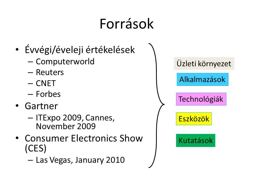 Források • Évvégi/éveleji értékelések – Computerworld – Reuters – CNET – Forbes • Gartner – ITExpo 2009, Cannes, November 2009 • Consumer Electronics