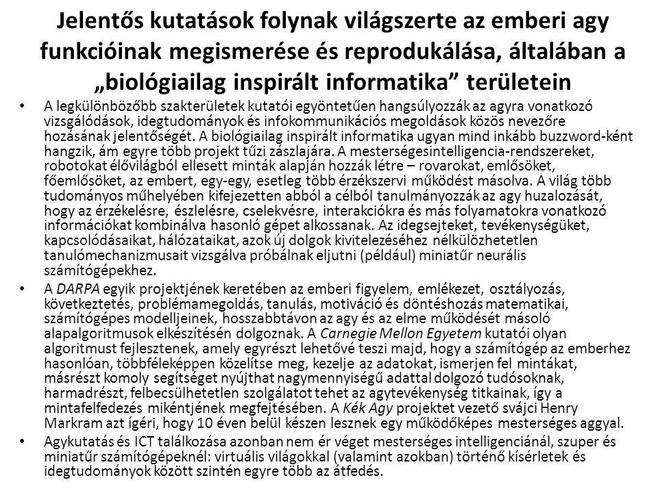 """Jelentős kutatások folynak világszerte az emberi agy funkcióinak megismerése és reprodukálása, általában a """"biológiailag inspirált informatika"""" terüle"""