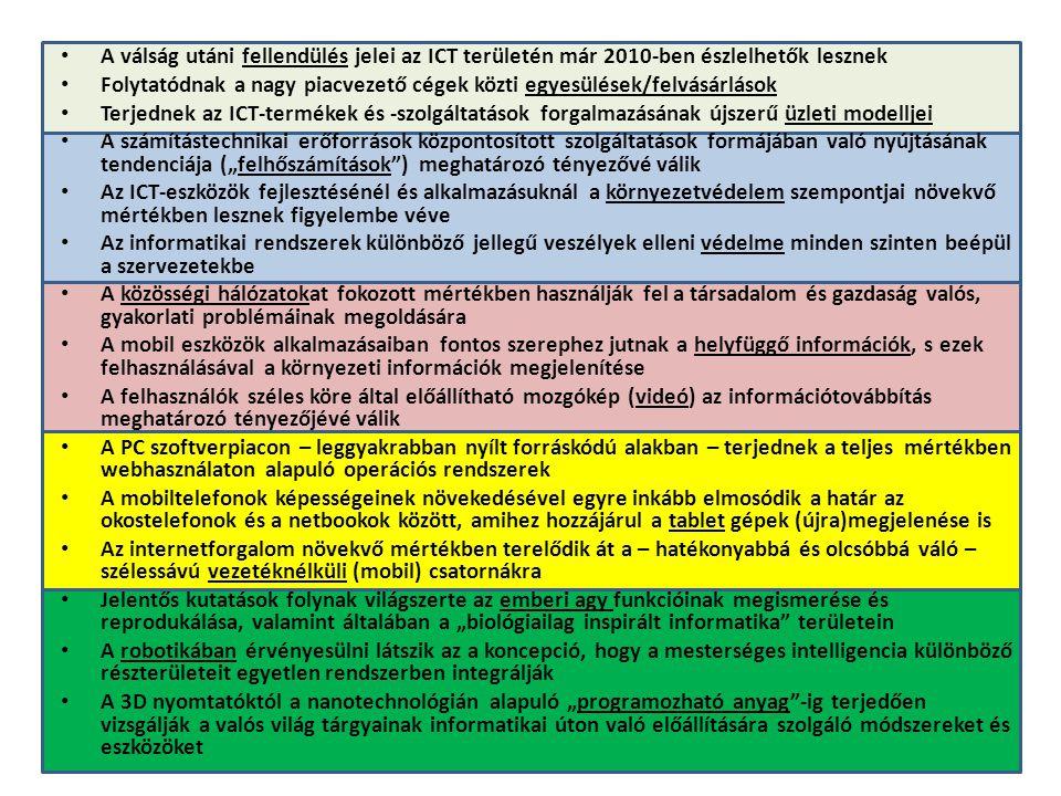 • A válság utáni fellendülés jelei az ICT területén már 2010-ben észlelhetők lesznek • Folytatódnak a nagy piacvezető cégek közti egyesülések/felvásár