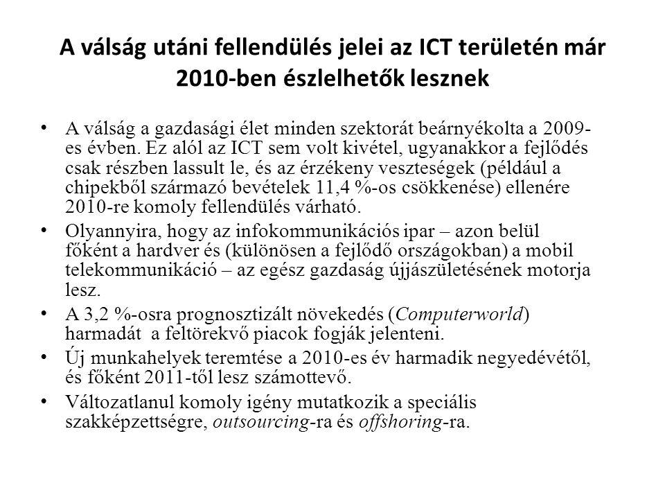 A válság utáni fellendülés jelei az ICT területén már 2010-ben észlelhetők lesznek • A válság a gazdasági élet minden szektorát beárnyékolta a 2009- e