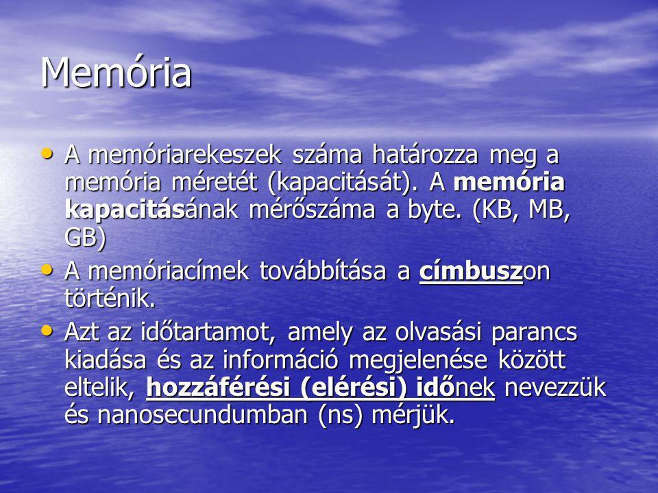 Memóriák funkciói A személyi számítógépekben 3 alapvető memóriatípust különböztetünk meg: 1.