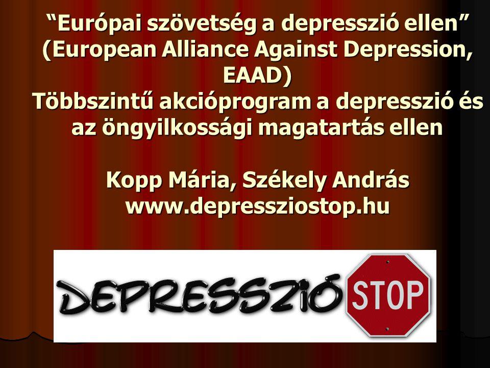  A lakosság 7,6%-a szenved súlyos depressziós tünetektől,  13,4 % tekinthető depressziós betegnek,  a 2005-os utankovetes szerint 18 %  közel minden harmadik embernek vannak az életminőséget rontó depressziós tünetei