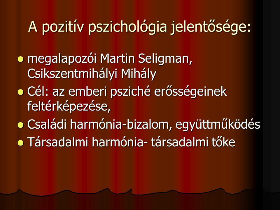 A pozitív pszichológia jelentősége:  megalapozói Martin Seligman, Csikszentmihályi Mihály  Cél: az emberi psziché erősségeinek feltérképezése,  Csa