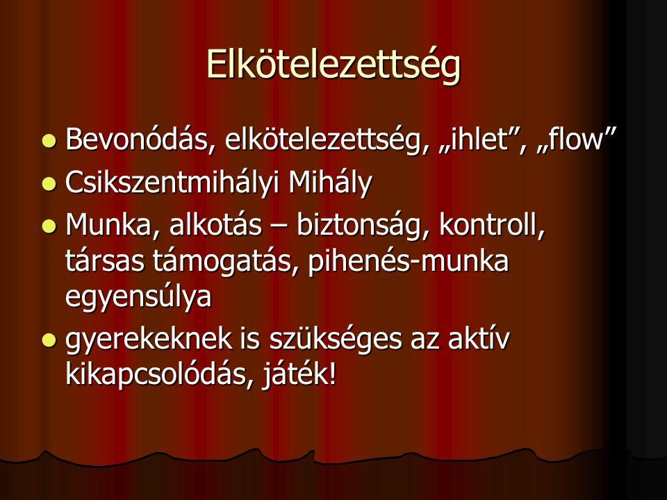 """Elkötelezettség  Bevonódás, elkötelezettség, """"ihlet"""", """"flow""""  Csikszentmihályi Mihály  Munka, alkotás – biztonság, kontroll, társas támogatás, pihe"""