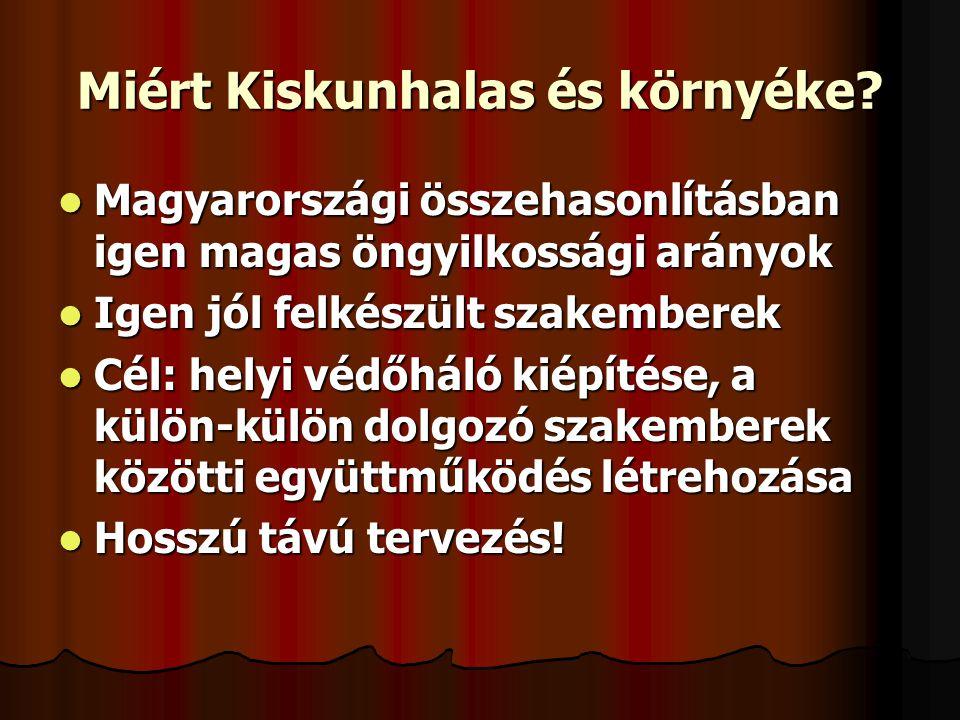 Miért Kiskunhalas és környéke?  Magyarországi összehasonlításban igen magas öngyilkossági arányok  Igen jól felkészült szakemberek  Cél: helyi védő