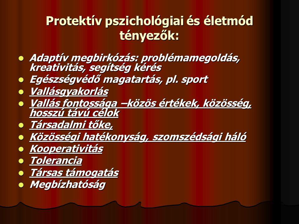 Protektív pszichológiai és életmód tényezők:  Adaptív megbirkózás: problémamegoldás, kreativitás, segítség kérés  Egészségvédő magatartás, pl. sport