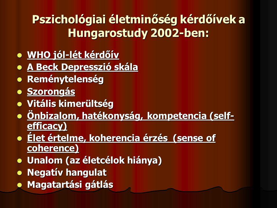 Pszichológiai életminőség kérdőívek a Hungarostudy 2002-ben:  WHO jól-lét kérdőív  A Beck Depresszió skála  Reménytelenség  Szorongás  Vitális ki