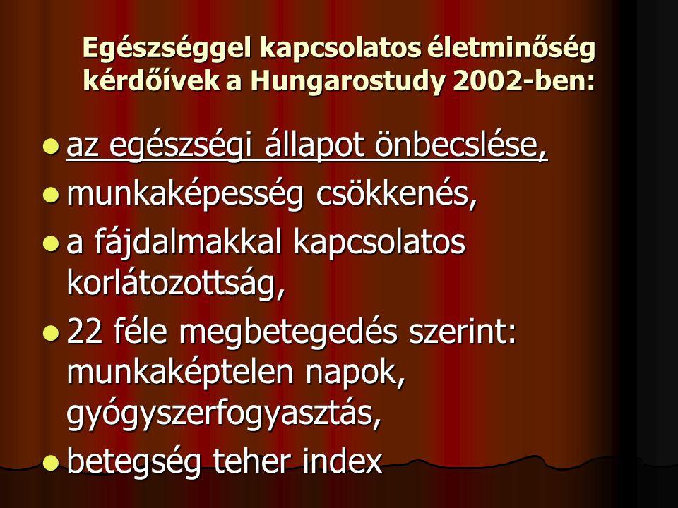 Egészséggel kapcsolatos életminőség kérdőívek a Hungarostudy 2002-ben:  az egészségi állapot önbecslése,  munkaképesség csökkenés,  a fájdalmakkal