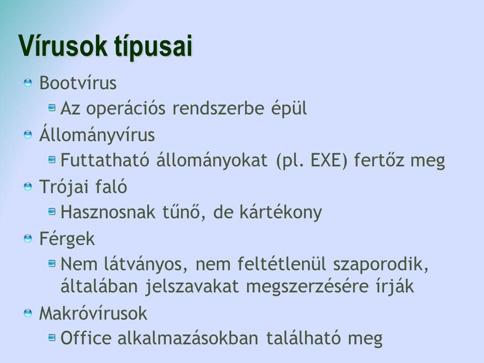 Vírusok típusai Bootvírus Az operációs rendszerbe épül Állományvírus Futtatható állományokat (pl. EXE) fertőz meg Trójai faló Hasznosnak tűnő, de kárt