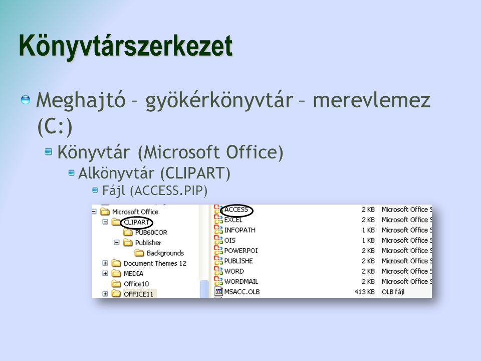 Könyvtárszerkezet Meghajtó – gyökérkönyvtár – merevlemez (C:) Könyvtár (Microsoft Office) Alkönyvtár (CLIPART) Fájl (ACCESS.PIP)