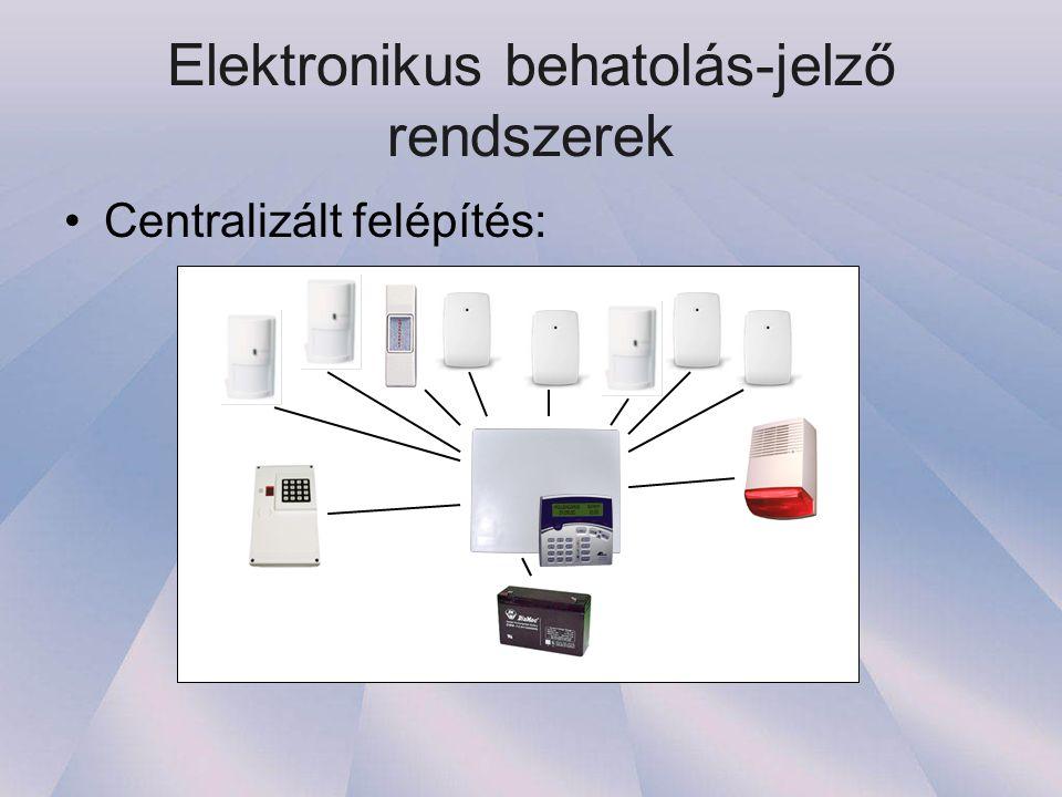 Elektronikus behatolás-jelző rendszerek •Centralizált felépítés: