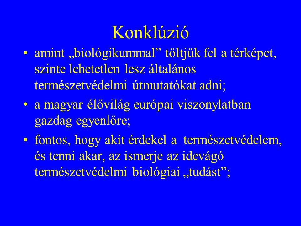 """Konklúzió •amint """"biológikummal"""" töltjük fel a térképet, szinte lehetetlen lesz általános természetvédelmi útmutatókat adni; •a magyar élővilág európa"""