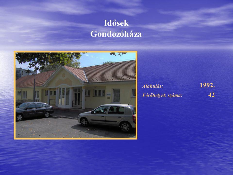 Alakulás: Férőhelyek száma: 1992. 42 Idősek Gondozóháza
