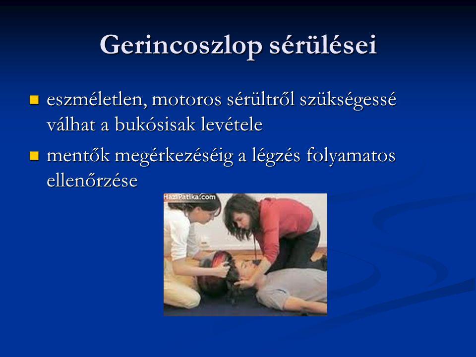 Gerincoszlop sérülései  eszméletlen, motoros sérültről szükségessé válhat a bukósisak levétele  mentők megérkezéséig a légzés folyamatos ellenőrzése