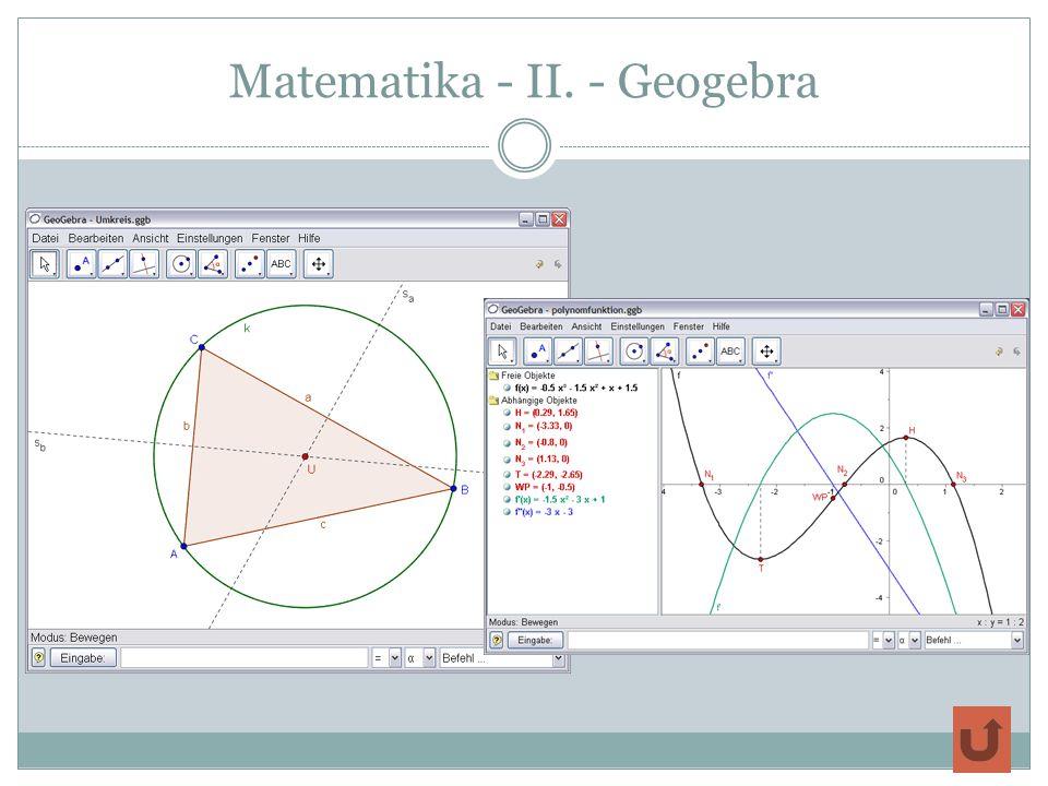 Matematika - II. - Geogebra