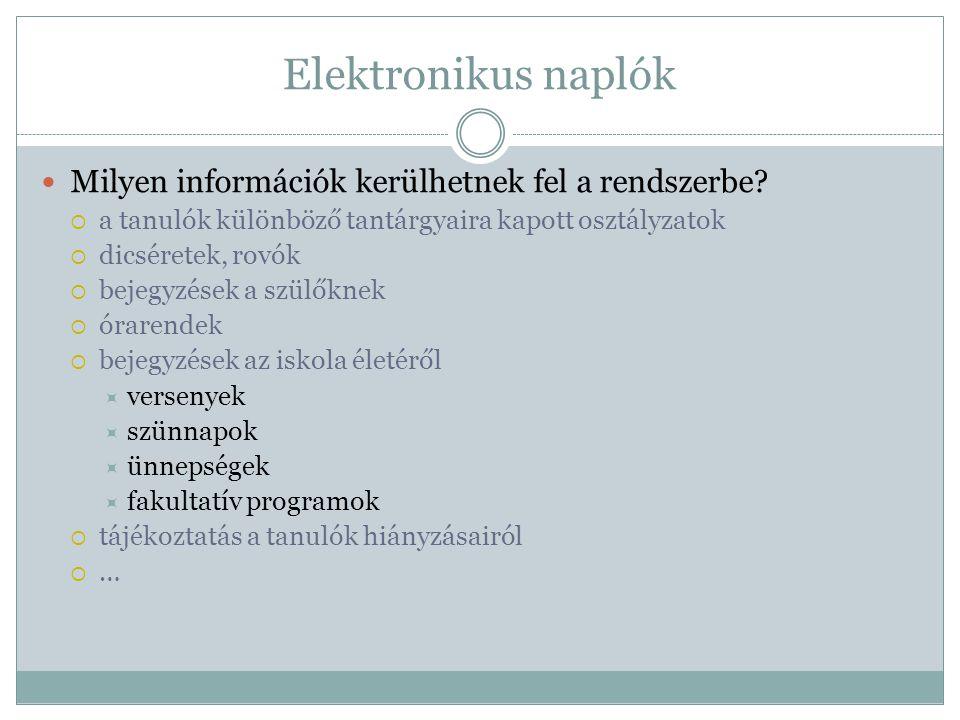 Elektronikus naplók  Milyen információk kerülhetnek fel a rendszerbe.