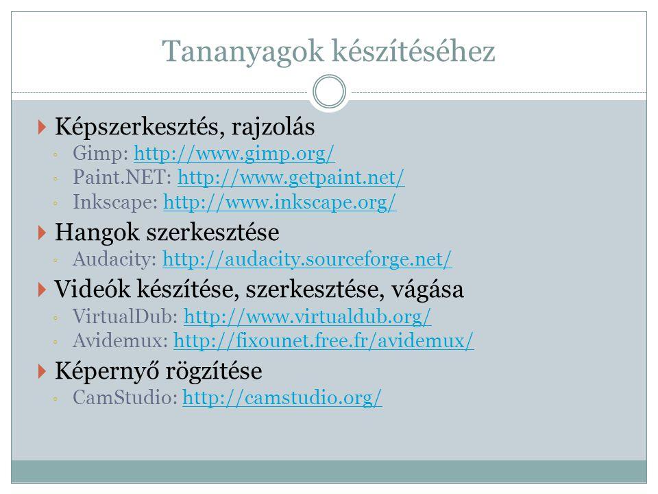 Tananyagok készítéséhez  Képszerkesztés, rajzolás ◦ Gimp: http://www.gimp.org/http://www.gimp.org/ ◦ Paint.NET: http://www.getpaint.net/http://www.getpaint.net/ ◦ Inkscape: http://www.inkscape.org/http://www.inkscape.org/  Hangok szerkesztése ◦ Audacity: http://audacity.sourceforge.net/http://audacity.sourceforge.net/  Videók készítése, szerkesztése, vágása ◦ VirtualDub: http://www.virtualdub.org/http://www.virtualdub.org/ ◦ Avidemux: http://fixounet.free.fr/avidemux/http://fixounet.free.fr/avidemux/  Képernyő rögzítése ◦ CamStudio: http://camstudio.org/http://camstudio.org/