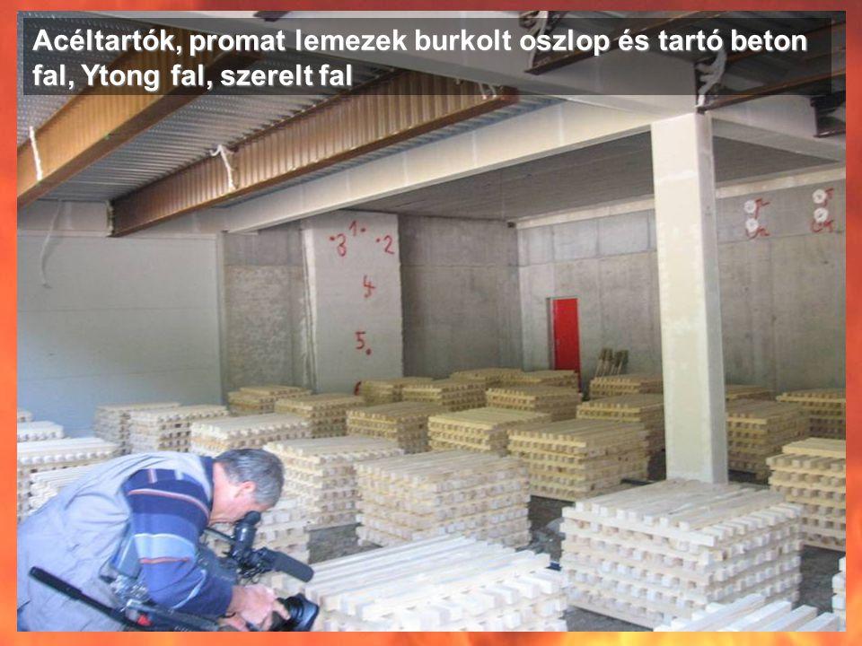 Acéltartók, promat lemezek burkolt oszlop és tartó beton fal, Ytong fal, szerelt fal
