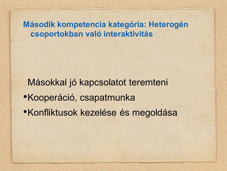 Második kompetencia kategória: Heterogén csoportokban való interaktivitás Másokkal jó kapcsolatot teremteni • Kooperáció, csapatmunka • Konfliktusok kezelése és megoldása