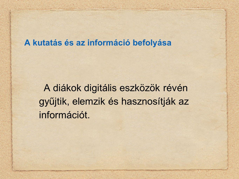 A kutatás és az információ befolyása A diákok digitális eszközök révén gyűjtik, elemzik és hasznosítják az információt.