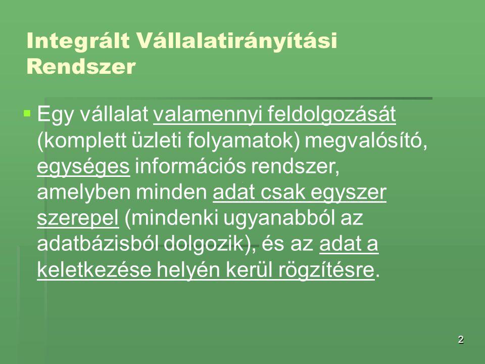 2 Integrált Vállalatirányítási Rendszer   Egy vállalat valamennyi feldolgozását (komplett üzleti folyamatok) megvalósító, egységes információs rends