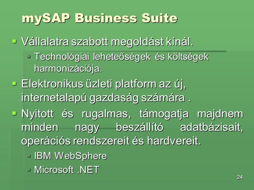 24 mySAP Business Suite  Vállalatra szabott megoldást kínál.  Technológiai leheteőségek és költségek harmonizációja.  Elektronikus üzleti platform