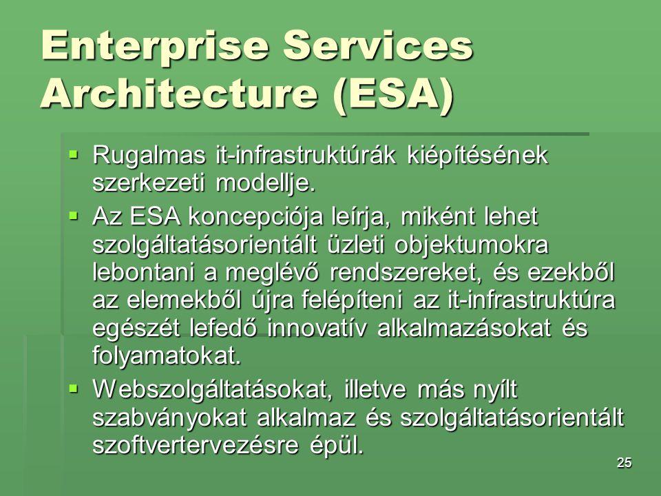 25 Enterprise Services Architecture (ESA)  Rugalmas it-infrastruktúrák kiépítésének szerkezeti modellje.  Az ESA koncepciója leírja, miként lehet sz