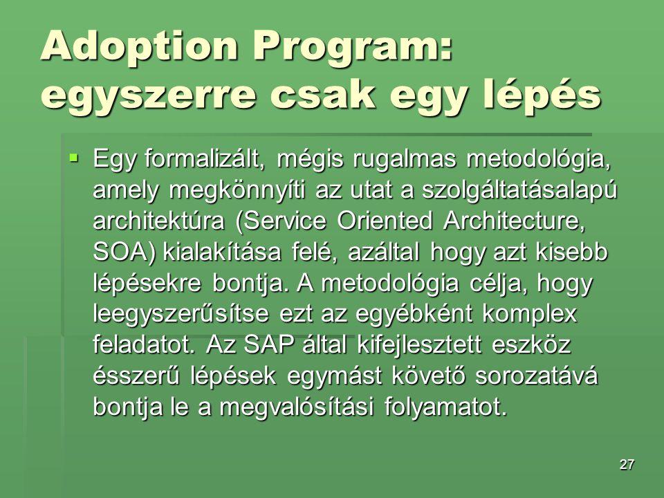 27 Adoption Program: egyszerre csak egy lépés  Egy formalizált, mégis rugalmas metodológia, amely megkönnyíti az utat a szolgáltatásalapú architektúr
