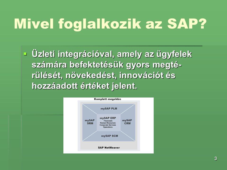 3 Mivel foglalkozik az SAP?  Üzleti integrációval, amely az ügyfelek számára befektetésük gyors megté- rülését, növekedést, innovációt és hozzáadott
