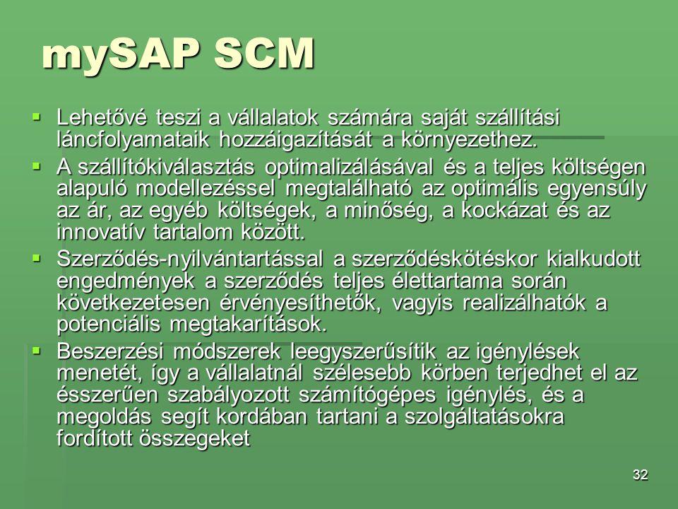 32 mySAP SCM  Lehetővé teszi a vállalatok számára saját szállítási láncfolyamataik hozzáigazítását a környezethez.  A szállítókiválasztás optimalizá