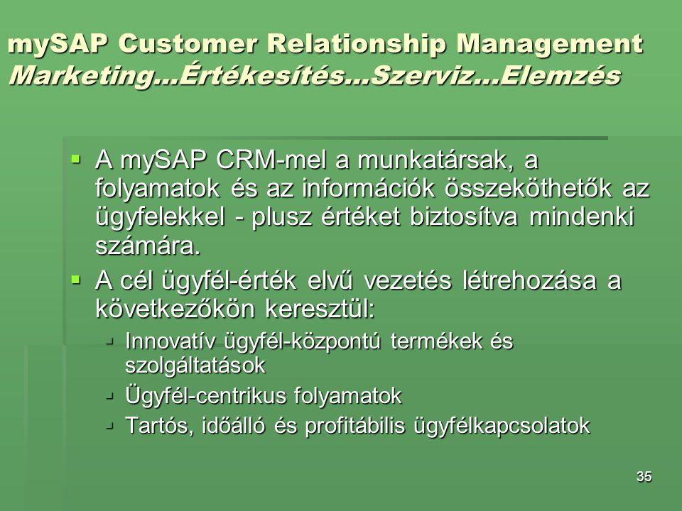 35 mySAP Customer Relationship Management Marketing...Értékesítés...Szerviz...Elemzés  A mySAP CRM-mel a munkatársak, a folyamatok és az információk
