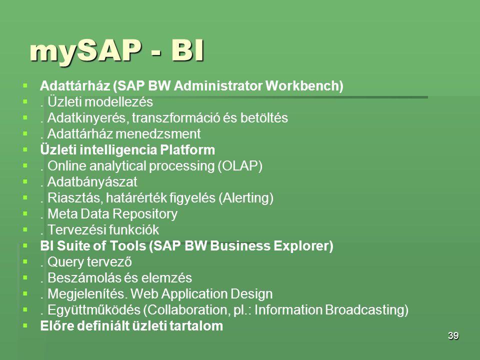39 mySAP - BI   Adattárház (SAP BW Administrator Workbench)  . Üzleti modellezés  . Adatkinyerés, transzformáció és betöltés  . Adattárház men